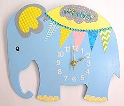 HH Baby Boutique Design Nursery Elephant Wall Clock, Nursery Wall Clock, Wall Clock(Blue)
