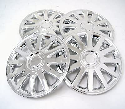 TuningPros WSC-610C16 Chrome Hubcaps Wheel Skin Cover 16-Inches Silver Set of 4
