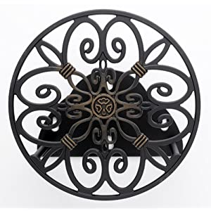 Liberty Garden Products Decorative Non-Rust Cast Aluminum Wall Mounted Garden Hose Butler/Hanger With 125-Foot Capacity - Antique Patina Finish #670