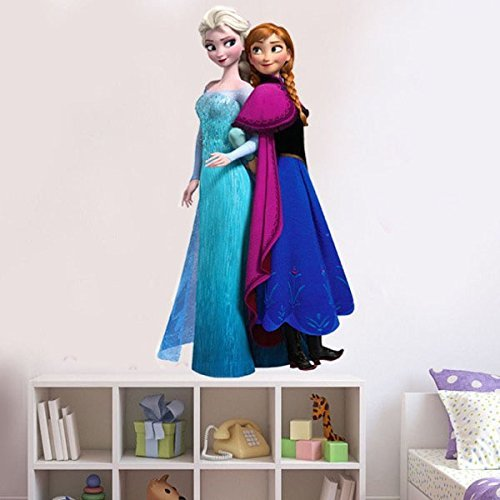 Peel and Stick Removable Easily Huge Wall Stickers for Kids Bedroom Playing Room Decals Home Decoration Wall Paper Cartoon Pattern (Elsa&Anna 45*60cm)