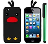 Black Funny Duck Silicone Skin Premium Design Protector Soft Cover Case Compatible for Apple Iphone 5 (AT&T, VERIZON, SPRINT) + Combination 1 of New Metal Stylus Touch Screen Pen (4