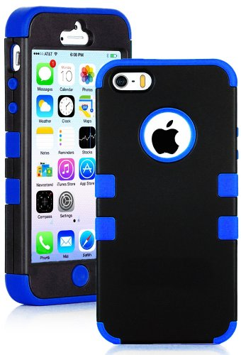 Mylife Deep Blue And Black - Robot Series (Neo Hypergrip Flex Gel) 3 Piece Case For Iphone 5/5S (5G) 5Th Generation Smartphone By Apple (External 2 Piece Fitted On Hard Rubberized Plates + Internal Soft Silicone Easy Grip Bumper Gel) front-328678