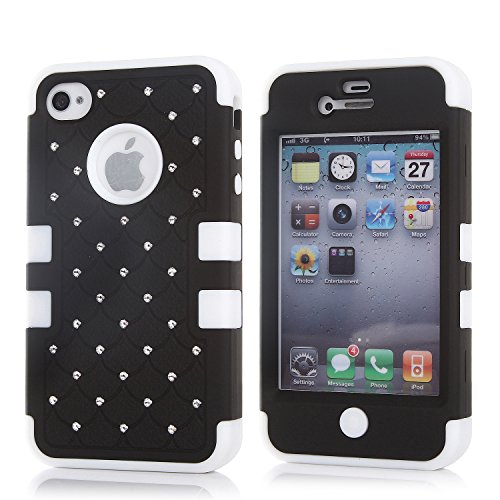 iPhone 4S Case, KAMII 3 Layers Verge Hybrid Soft Silicone Hard Plastic Triple Quakeproof Drop Resistance Protective Case Cover for Apple iPhone 4/4S (Black White) (Iphone 4s Back Glass Marvel compare prices)