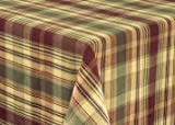 Saffron Collection Table Cloth Country Red Sage Green Brown Tan Plaid Rustic Cabin Home Décor