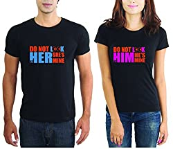 LaCrafters Couple tshirt - Dont Look At Us Couples Tshirt_Black_XL - Set of 2