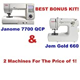 Janome 7700 QCP & Bonus 660 Jem Gold Sewing Machines! New Home Memory Craft 7700QCP Sewing and Quilting Machine JNHMC7700QCP Plus As An Added Bonus A Jem Gold 660 Sewing Machine
