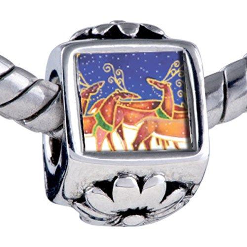 Pugster Bead Christmas Reindeer Snowfall Beads Fits Pandora Bracelet