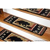 Dean Premium Carpet Stair Treads - Black Bear Cabin 31