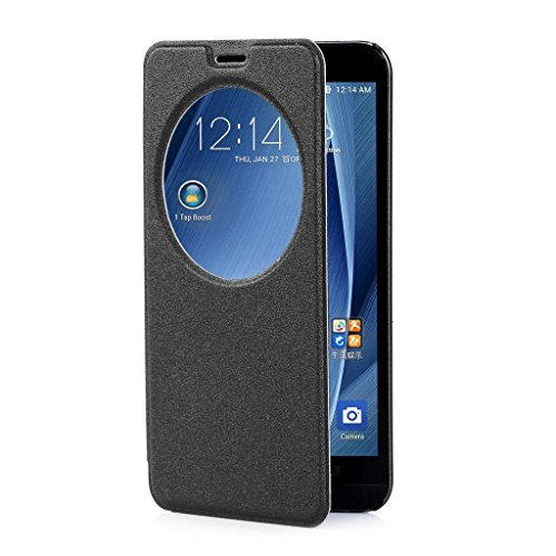 Per Asus Zenfone 2 , ivencase Premium Ultra-thin Flip PU Cover in Ecopelle [View Window] Modello Bumper Slim Folio Protectiva Custodia Case Cover Perfetto Fit Per Asus Zenfone 2 / 2 Deluxe ZE551M / ZE550ML 5.5 ""