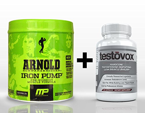 Iron Pump (30 Servings) & Testovox (60 Capsules) - High Performance Muscle Building Combination. Professional Strength Pre Workout Bodybuilding Supplement Stack (Watermelon) (Arnold Iron Pump Pre Workout compare prices)