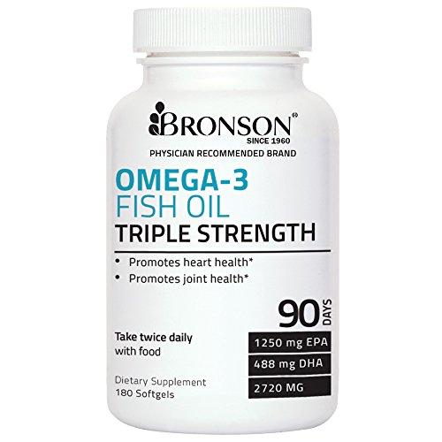 Bronson Omega 3 Fish Oil Triple Strength 2720 mg 1250 EPA 488 DHA Non GMO, Gluten Free, 180 Softgels (Gluten Free Omega compare prices)