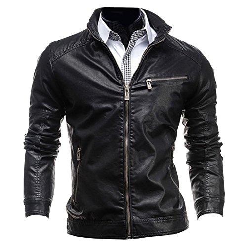 Jeansian Cappotti Di Pelle Uomo Inverno Moda Giacca Uomini Tendenza Cappotto Design Sottile Capispalla 9309 Black M