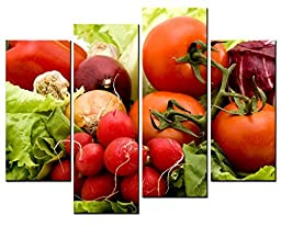 Canval prit painting Food Wall Art Red and Green Vegetables Tomato & Lettuce 4 Pieces Picture on Canvas