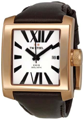 TW Steel Unisex Quartz Watch with White Dial Analogue Display and Brown Leather Strap CE3007