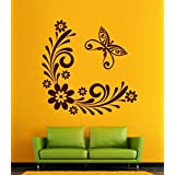 Hoopoe Decor Flowers And Butterfly Wall Stickers And Decals - B011D16R2O