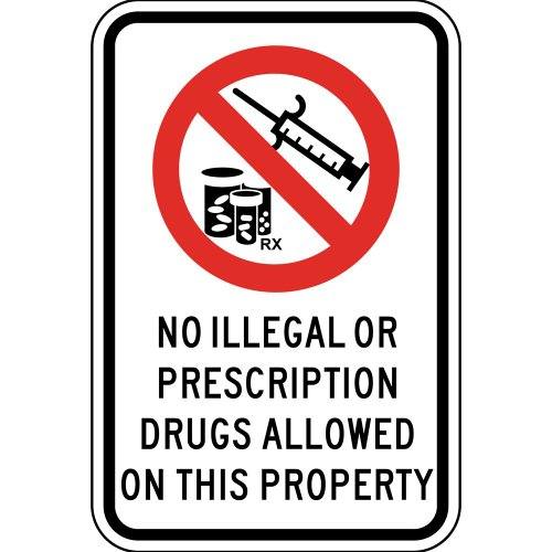 Compliancesigns Aluminum Alcohol / Drugs / Weapons Sign, Reflective 18 X 12 In. With Alcohol / Drugs Info In English, White