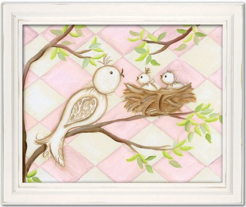 "Doodlefish Framed 18'x15"" Wall Art, Bird Pink Diamond"