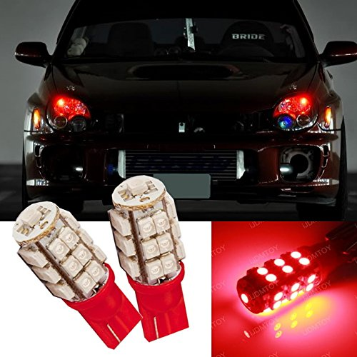 Ijdmtoy (2) Super Bright Red 25-Smd-1210 168 194 2825 W5W T10 Led Bulbs For Car Parking Lights