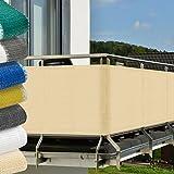 Balkon Sichtschutz 500x90 cm Creme (Beige) - witterungsbeständige Balkonumspannung mit Befestigung - Windschutz