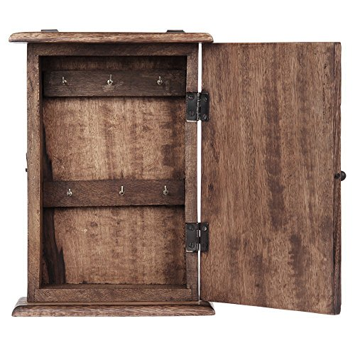 Store Indya Wall Mounted Key Holder Cabinet Organizer Wooden Storage Box with Floral Motif and 6 Hooks Antique Finish (10 x 7 Inches) 2