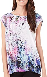 DKNY Jeans Women's Sunset Florals Print Crossover Back Top