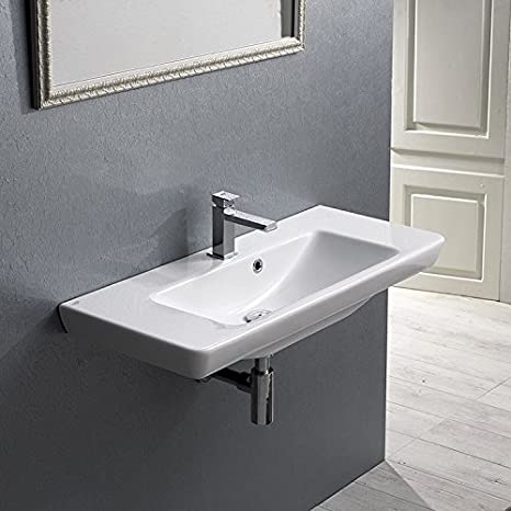 CeraStyle CeraStyle 068300-U-One Hole-637509859961 Porto Collection Bathroom Sink, White