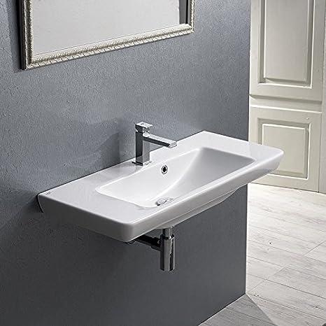 CeraStyle CeraStyle 068300-U-One Hole-637509859961 Porto Collection Bathroom Sink, White