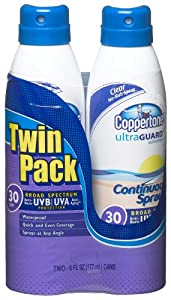 Coppertone Ultraguard Spf 30 Continuous Spray Clear Twin Pack ,  6-Ounce Cans