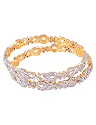 Bharat Sales Gold Plated White Alloy Bangles For Women - B00YPARU5Y