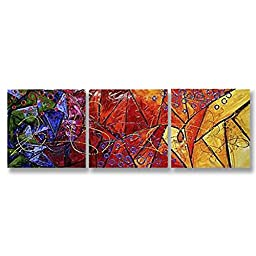 Neron Art - Handpainted Abstract Oil Painting on Gallery Wrapped Canvas Group of 3 pieces - El Paso 24X8 inches