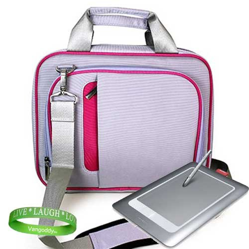 13.3 Laptop Messenger bag with Shoulder Strap for all models of Wacom Bamboo ( Fun , Craft , Pen Tablet, pen and Touch Small Tablet ) -- PINK & PURPLE + Live * Laugh * Love Vangoddy Wrist Band!!!