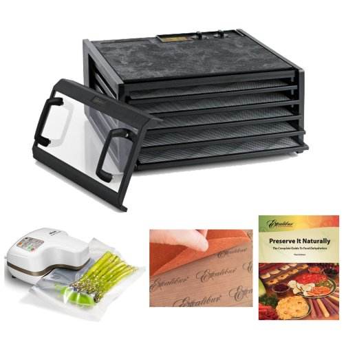 Excalibur Dehydrator 5-Tray Clear Door W/Timer + Oliso Pro-1000 Vacuum Sealer Starter Kit + Accessory Kit back-428328