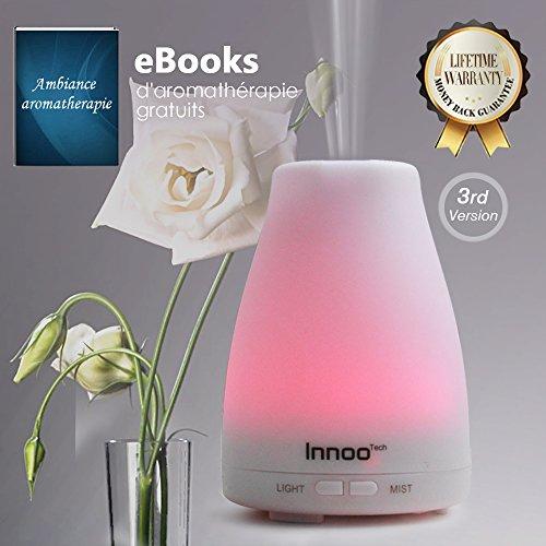 Innoo Tech Humidificador Ultasónico 100ml Difusor Aceites Esenciales Difusor de Aroma Aromatepia Hogar Intensidad Ajustable Se Apaga Automáticamente Luz LED de 7 Colores Mejorar el Ambiente y Aire en Casa