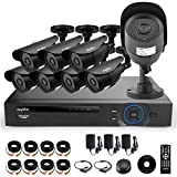SANNCE® SN-D8C803 8CH 8 Channel Digital Video Recorder DVR Kit with 8 Outdoor Waterproof Cameras and Hard Disk (Full 960H, HDMI/VGA/BNC, USB Backup, 800TVL Day/Night Cameras) (Black - No Hard Drive)