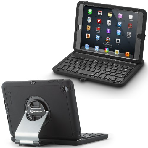 New Trent NT31B (1pc) Rugged Airbender Mini Wireless Bluetooth iPad mini Keyboard case , Water Resistant/Dirt Proof/Shock Proof/ with Dual-Layered Rubberized Full Body Slipcover Protection and Polycarbonate Frame, Integrated Screen and completely accessible Plug Covers, Rotatable Aluminum Swivel Stand, and Detachable Case
