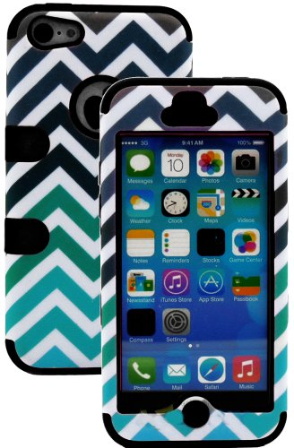 Mylife (Tm) Black + Colorful Chevron Print 3 Layer (Hybrid Flex Gel) Grip Case For New Apple Iphone 5C Touch Phone (External 2 Piece Full Body Defender Armor Rubberized Shell + Internal Gel Fit Silicone Flex Protector + Lifetime Waranty + Sealed Inside My