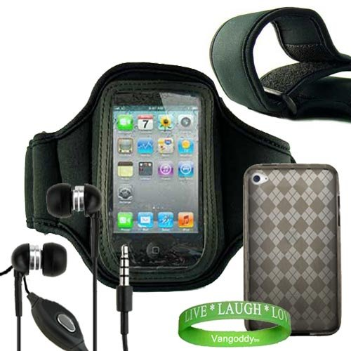 Black Neoprene Armband for Apple iPod Touch 4 ( 4g , 16gb , 32 gb ) + Smoke Diamond Crystal TPU Argyle Skin + No- hands iPod Touch 4th Generation Earphones with microphone + VG Brand Live * Laugh * Love Wrist Band!!!