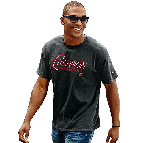Champion Men`s Cotton-Rich Graphic T Shirt, GT81, S, Black/Brand