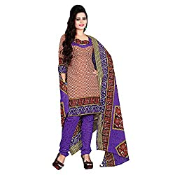 M Fab Printed Brown Cotton Un Stitched Dress Material