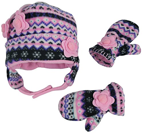 N'Ice Caps Girls Fair Isle Print Micro Fleece Hat And Mitten Set (18-36 Months, Black Fair Isle/Neon Pink)