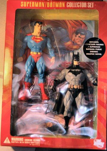 Superman / Batman Collector Set - 2 Figures - Includes: Superman / Batman Public Enemies Graphic Novel - DC Direct - Mint - Collectible - (G)