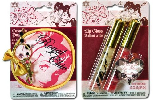 Disney Princess 2pk. Flavored Lip Gloss and Cosmetic Pouch keychain Set