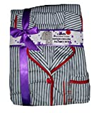 White with Black Stripes Minky Fleece Notch Collar Pajama Sleep Set