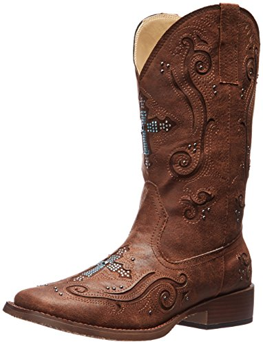 Roper Women's Crossed Out Western Boot,Brown,10 M US