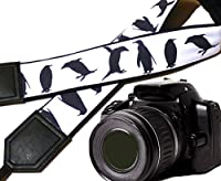 Penguin camera strap. Black and white camera strap. DSLR / SLR camera strap. Durable, light weight and well padded camera strap. code 00192