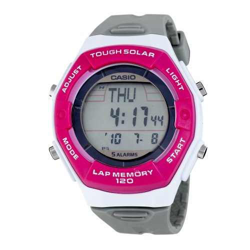Casio Women's LWS200H-4ACF Solar Runners 120-Lap Grey and Pink Digital Sport Watch