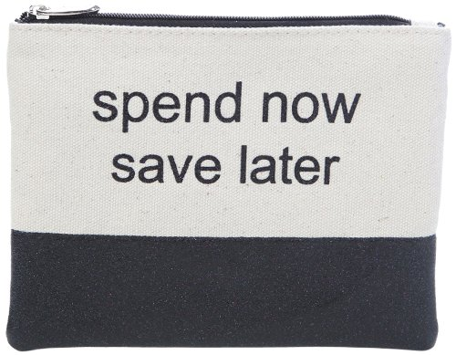 Miamica Canvas Glitter Pouch Spend Now Save Later, Black, One Size