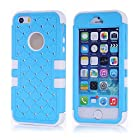 AUMI 3 Piece Combo Hybrid Case Glitter Bling Studded Diamond Dual Layer Pc&silicone Protective Case for Iphone 5 5s