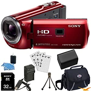 Sony HDR-PJ380/R HDRPJ380 HDR-PJ380 PJ380 High Definition Handycam Camcorder with 3.0-Inch LCD (Red) Ultimate Bundle with 32GB SD Card, High Capacity Spare Battery, Rapid AC/DC Charger, Deluxe Carrying Case, Table Tripod, LCD Screen Protectors, and More