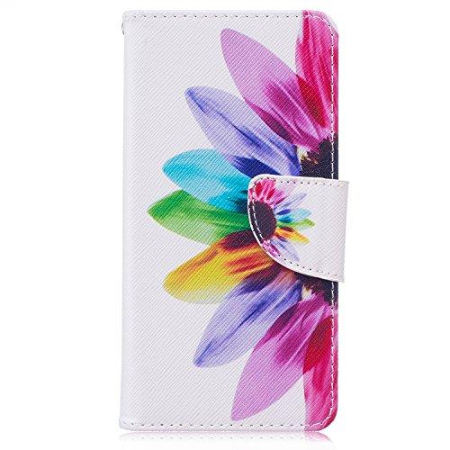 Custodia Huawei P9, Huawei P9 Flip Cover - ISAKEN Elegante borsa Custodia in Pelle Protettiva Flip Portafoglio Case Cover per Huawei P9 / con Supporto di Stand / Carte Slot / Chiusura Magnetica - sunflower